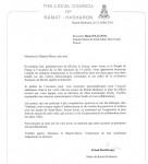 Lettre de Itzhak Rohberger, Maire de Ramat Hasharon