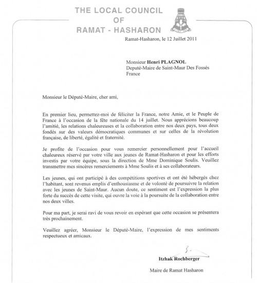 lettre de remerciement a un maire